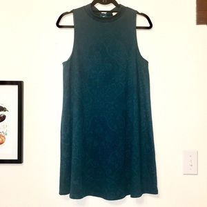 High neck teal dress